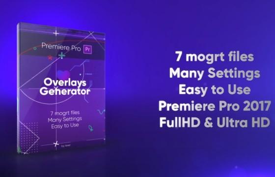 Pr基本图形模板 7个线条 炫光 Mogrt预设动画 Overlays Generator