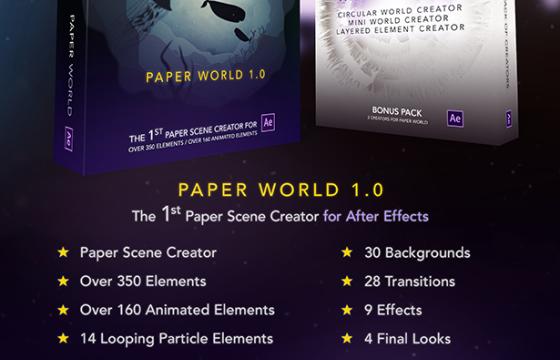 AE模板 剪纸素材 山川 树木 高楼 天空卡通图形动画 Paper World