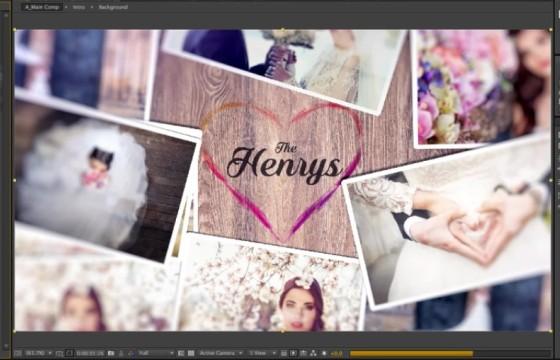 AE模板 浪漫温馨婚礼婚纱照片展示动画片头 Photo Slideshow