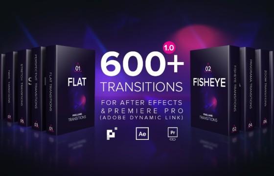 AE模板 600多个创意视频转场过渡工具包 Pixelland transitions Pack