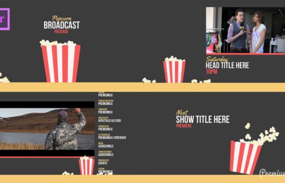 Pr Mogrt图形预设模板动画 爆米花广播动画字幕条 Popcorn Broadcast