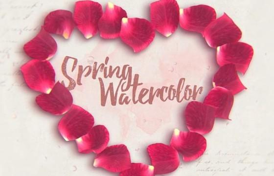AE模板 浪漫温馨七夕情人节水彩遮罩散开 Spring Watercolor