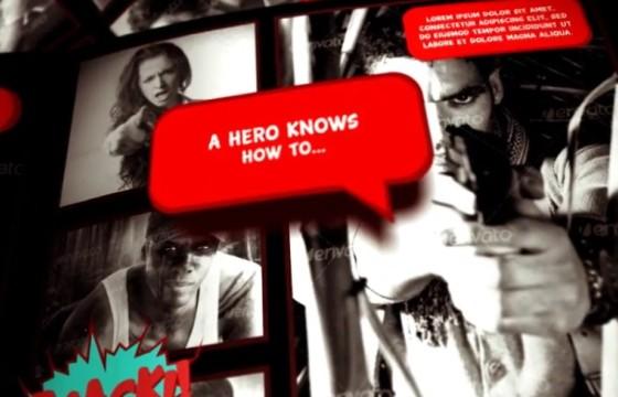AE模板 漫画书翻页动画 图片故事文字介绍 The Last Action Hero