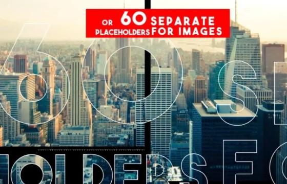 AE模板 创意时尚图片文字遮罩显示幻灯片展示 Upbeat Style