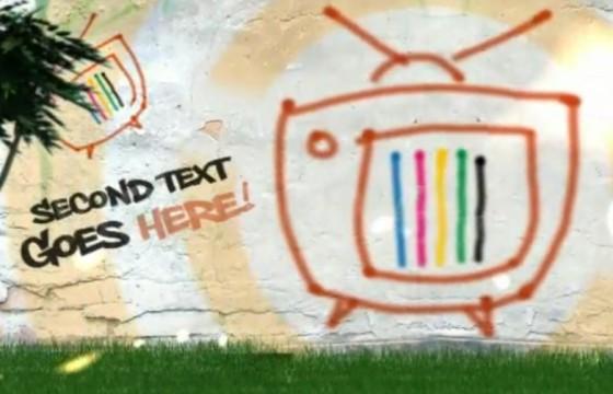AE模板 城市手绘涂鸦电视墙动态视频展示 Urban TV wall