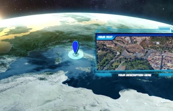 AE模板 地球缩放动画 LOGO显示片头 Zoom On Earth And Logo Reveal v2