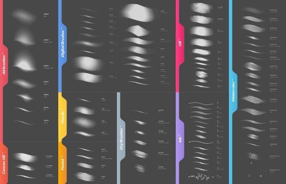 120个PS笔刷 油画 水彩 墨水 艺术笔刷合集 Photoshop Brushes