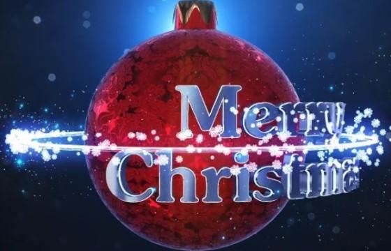 AE模板 圣诞节雪花粒子动画文字标题 Christmas Logo