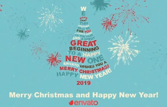 AE模板-创意圣诞树文字标题排版动画 Christmas Tree Greetings
