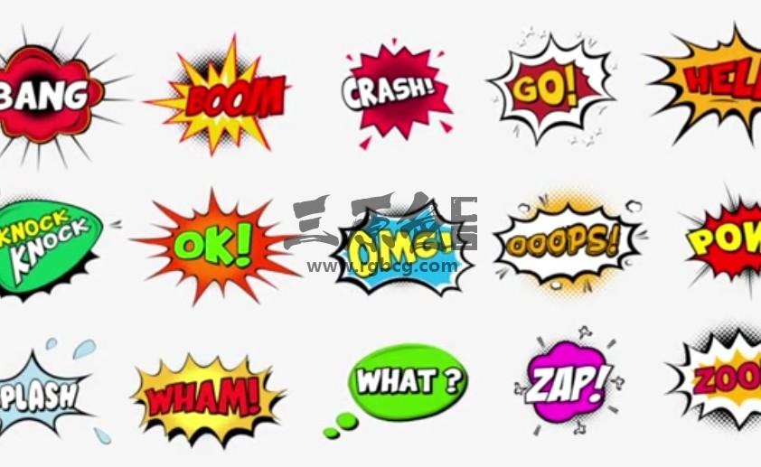AE模板-卡通综艺对话漫画泡泡文本标题 Comic Bubbles Ae 模板-第1张