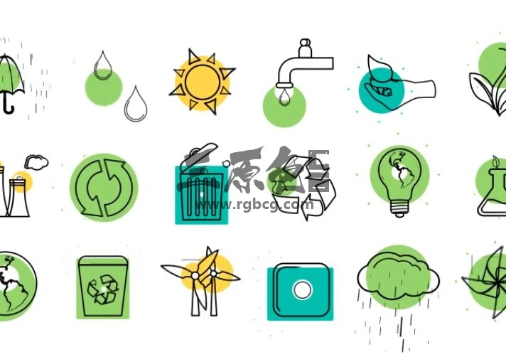 AE模板 生态概念Icons图标线条动画 Ecology Concept Icons Ae 模板-第1张