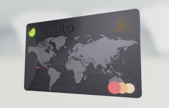 AE模板 三维会员信用卡设计展示动画 Element 3D Credit Card