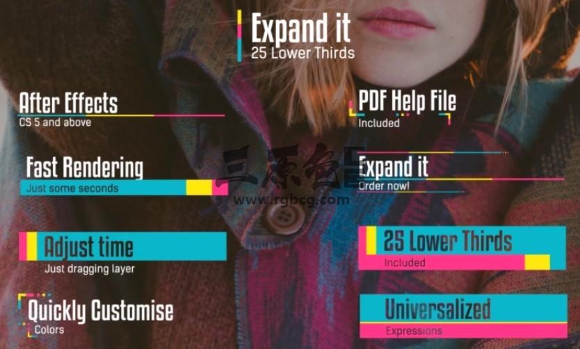 AE模板 创意彩色图形动画字幕条排版动画 Expand it Lower Thirds Ae 模板-第1张