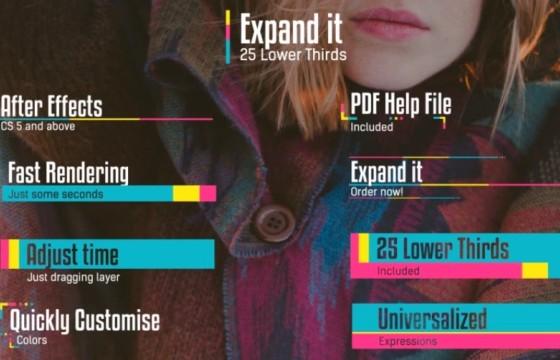 AE模板 创意彩色图形动画字幕条排版动画 Expand it Lower Thirds