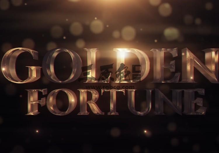 Pr基本图形模板 Mogrt预设 三维文字片头 Golden Fortune Pr 模板-第1张