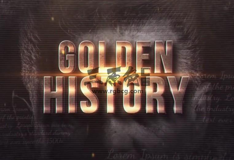 AE模板 复古风格黄金文字幻灯片图文相册模板 Golden History Ae 模板-第1张