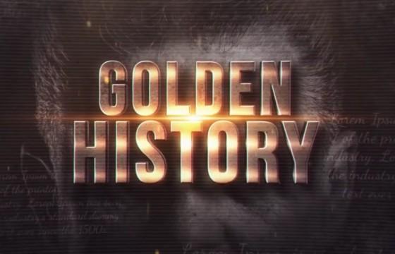 AE模板 复古风格黄金文字幻灯片图文相册模板 Golden History