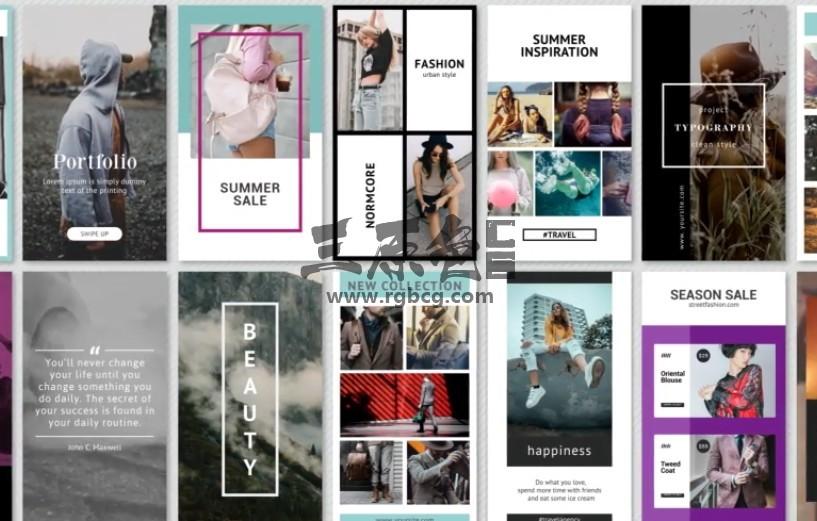 AE模板 手机竖屏产品广告促销展示模板 Instagram Stories Minimal Pack Ae 模板-第1张
