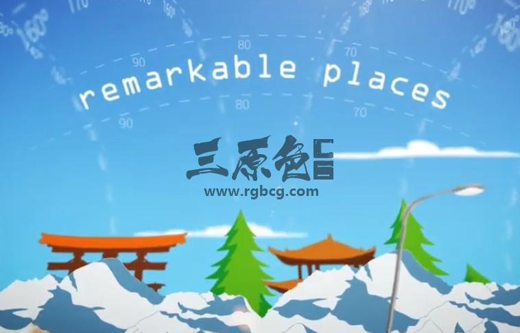 AE模板 世界各国经度坐标著名景点标志动画 Longitude Ae 模板-第1张