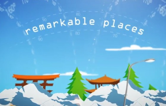 AE模板 世界各国经度坐标著名景点标志动画 Longitude