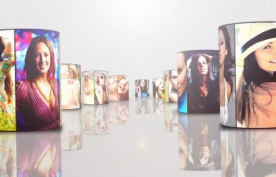 AE模板 六边形圆柱照片墙滚动LOGO展示 Multi Video Logo