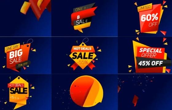 AE模板-动态图形商品促销打折销售标签动画 Sale Label
