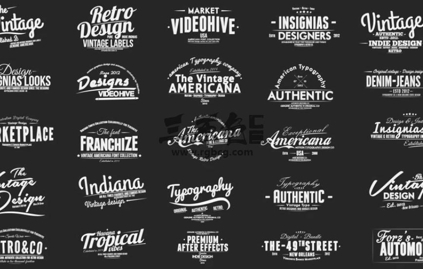 AE模板-复古幻灯片字幕条标题包 Vintage Slideshow Titles Ae 模板-第1张