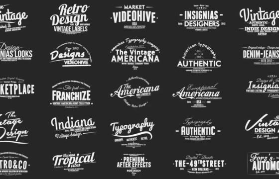 AE模板-复古幻灯片字幕条标题包 Vintage Slideshow Titles