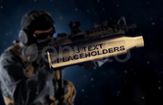 AE模板 武器子弹壳三维文字标题LOGO动画片头 Weapon Reveal