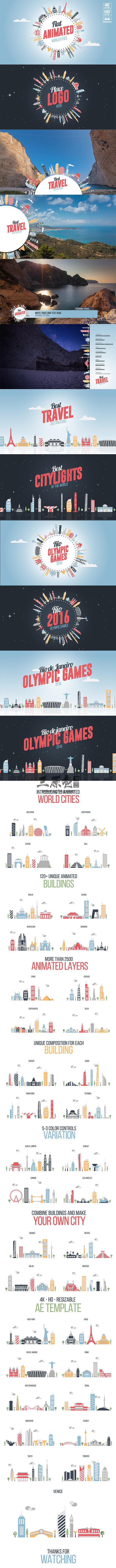 AE模板 MG卡通图形平面动画世界城市建筑 Flat World Cities Ae 模板-第1张