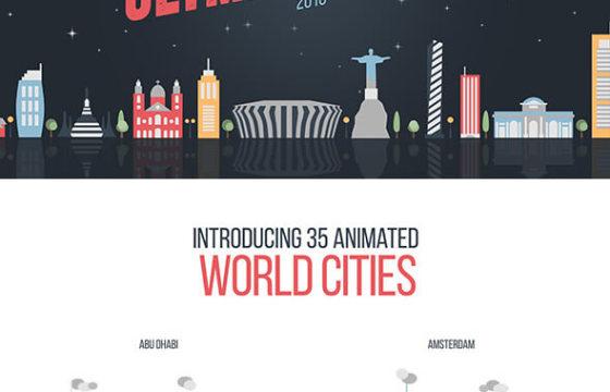 AE模板 MG卡通图形平面动画世界城市建筑 Flat World Cities