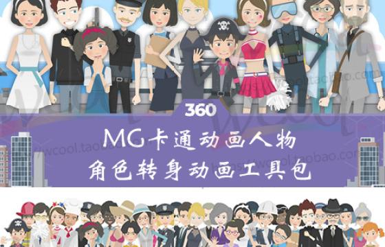AE模板 360度MG卡通动画人物角色转身动画工具包 赠Duik v15.5
