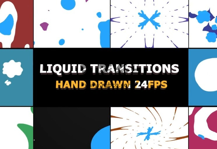 AE模板-2D FX液体图形动画转场过渡 2D FX Liquid Transitions Ae 模板-第1张