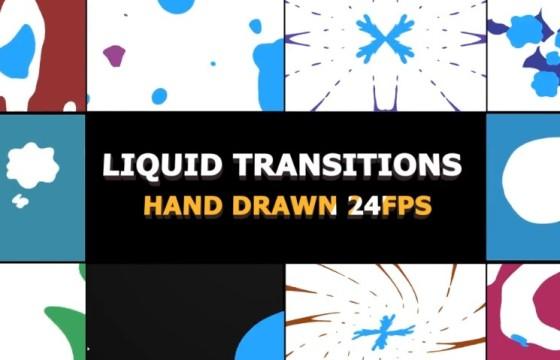 AE模板-2D FX液体图形动画转场过渡 2D FX Liquid Transitions