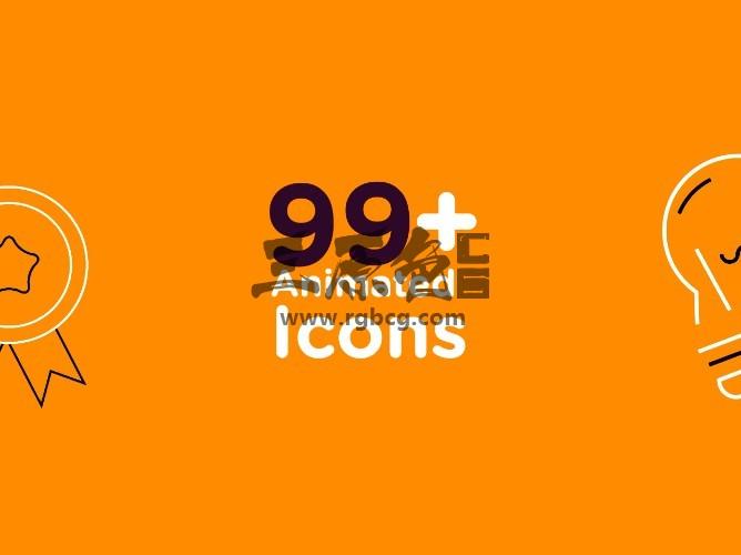 Pr 基本图形Mogrt模板 99个线条图标动画 Icons Mogrt Pr 模板-第1张