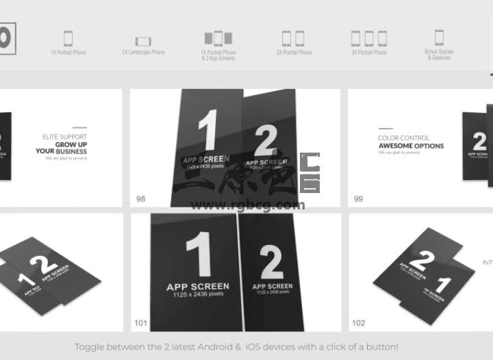 AE模板 E3D三维手机模型APP动画 App Pro for Element 3D Ae 模板-第1张