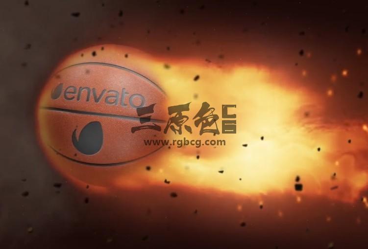 AE模板-篮球火焰LOGO广告展示 Basketball Fire Logo Ae 模板-第1张