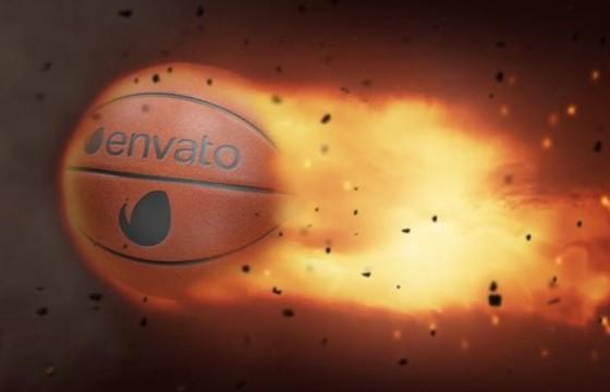 AE模板-篮球火焰LOGO广告展示 Basketball Fire Logo