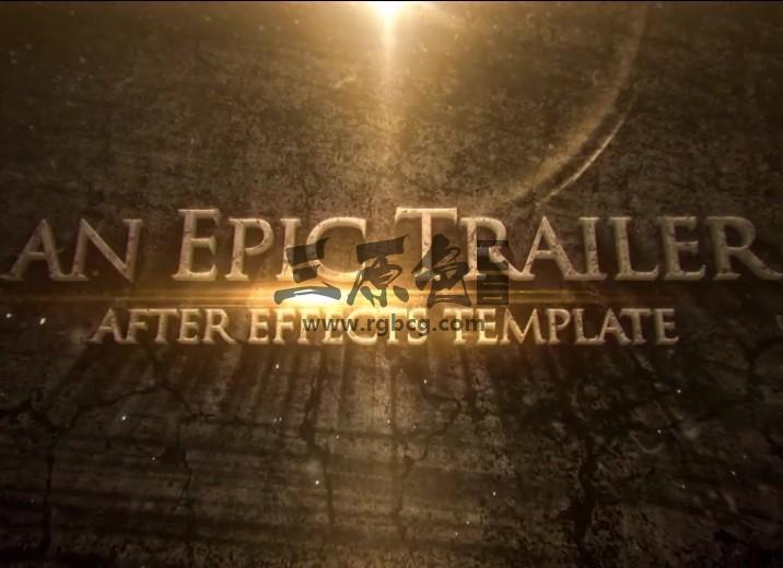 AE大气震撼电影预告片光效文字标题片头 Blockbuster Cinematic Trailer Ae 模板-第1张