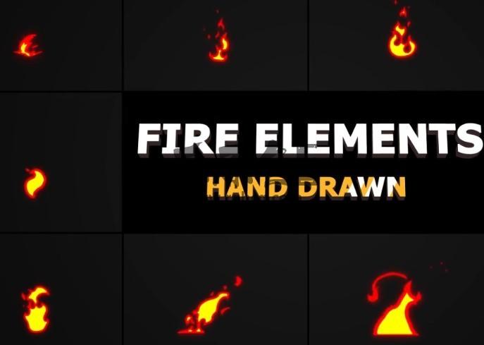 AE模板-MG卡通图形动画 火焰元素 Cartoon Fire Elements Ae 模板-第1张