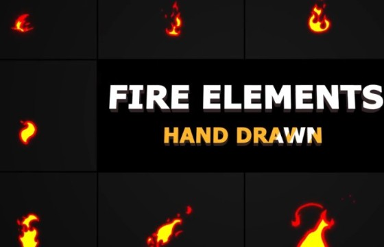 AE模板-MG卡通图形动画 火焰元素 Cartoon Fire Elements
