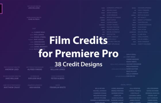 Pr图形模板 Mogrt预设 电影片尾演员表字幕 Film Credits Kit