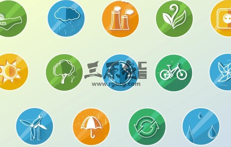 AE模板 29个绿色环保生态概念ICON图标动画 Concept Icons Ae 模板-第1张