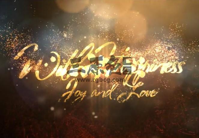 AE模板 优雅的金色粒子文字圣诞节片头 Elegant Christmas Greetings Ae 模板-第1张