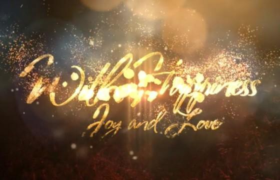 AE模板 优雅的金色粒子文字圣诞节片头 Elegant Christmas Greetings
