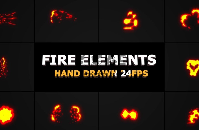 AE模板-MG卡通图形火焰动画元素包 Fire Elements Pack Ae 模板-第1张