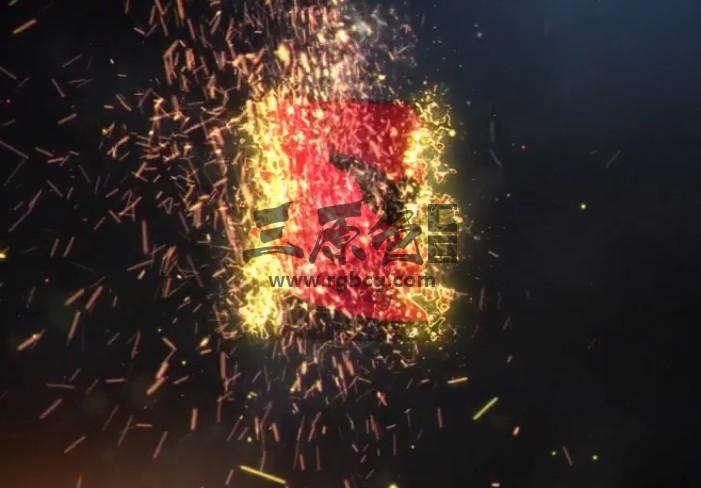 AE模板-粒子飞舞火焰LOGO动画特效片头 Fire Reveal Ae 模板-第1张