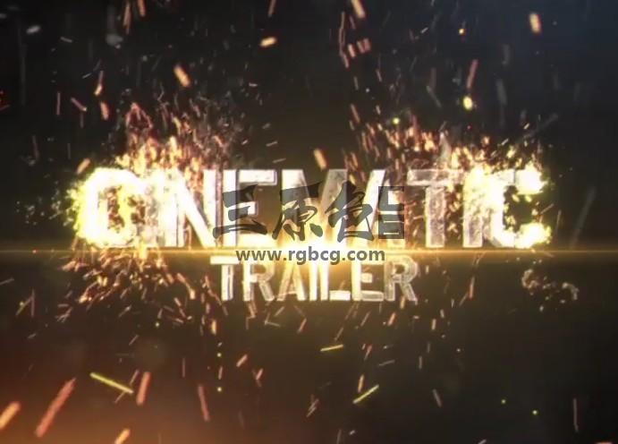 AE模板 碰撞火花粒子特效文字标题显示 Fireborn Cinematic Trailer Ae 模板-第1张