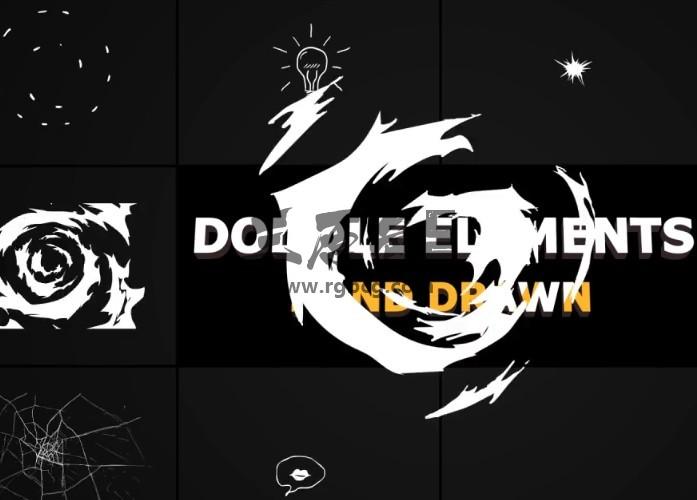 AE模板-MG形状图形 手绘涂鸦动画 Flash FX Doodle Elements Ae 模板-第1张