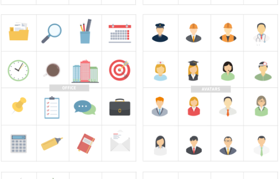 AE模板-250个平面ICO卡通图形动画图标 Flat Design Icons